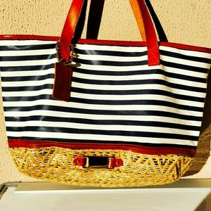 Gabee Tote Bag Nautical Weave and leather strap